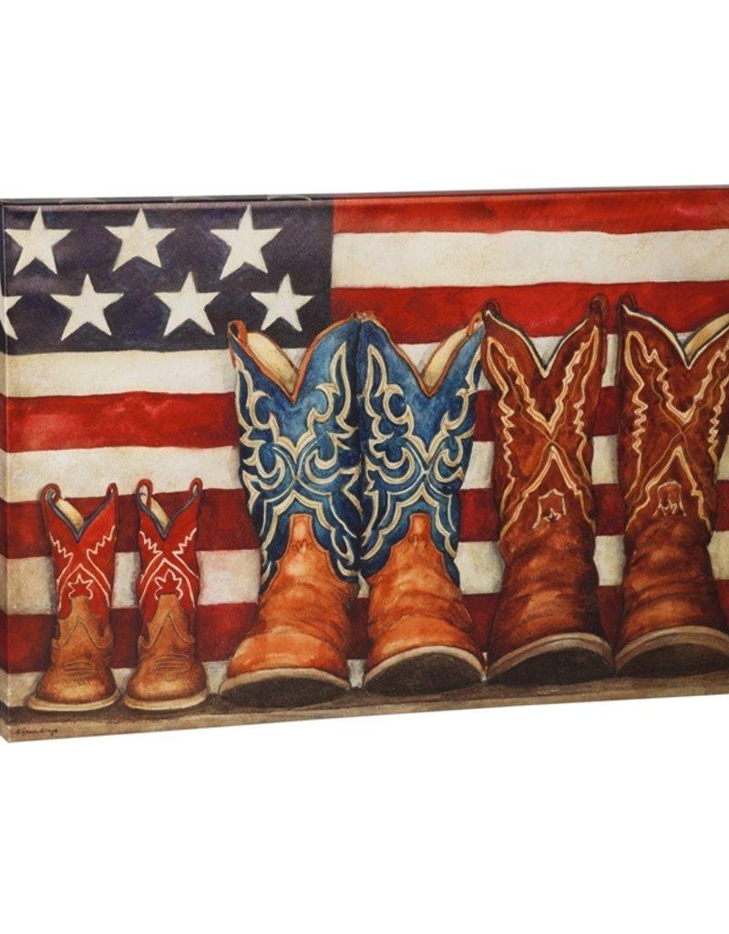 """Patriotic Cowboy Boots Outdoor Canvas 24""""x36"""""""