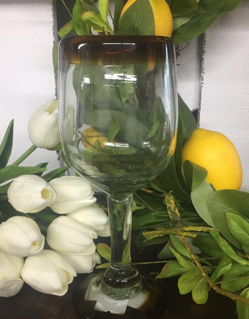 Tulip Wine-Amber Rim 11oz