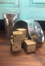 Wooden Dice with Storage Tin