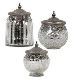 Ribbed Mercury Glass Jars - Set of 3