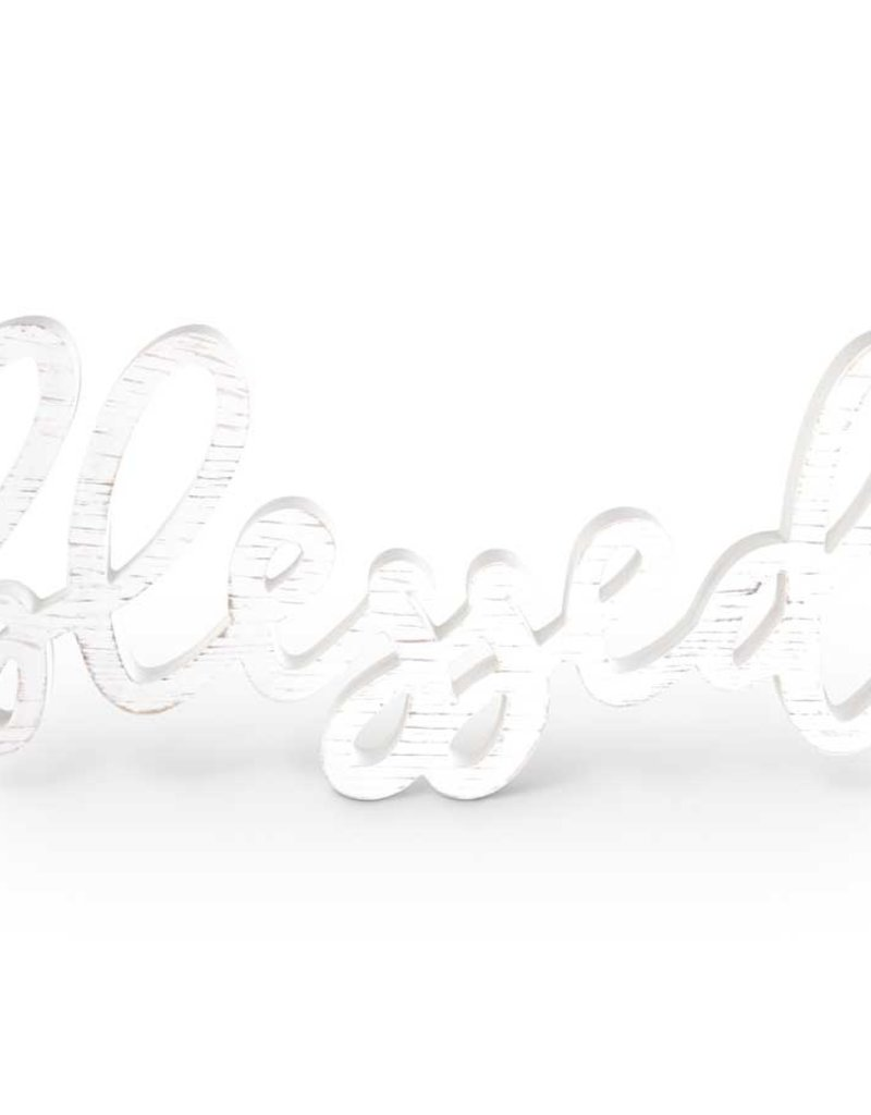 """26' White Wooden """"Blessed"""" Cursive Wall Hanger"""