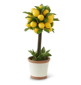 19 Inch Lemon & Foliage 1 Ball Topiary Tree in Ceramic Pot