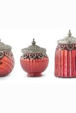 Set of 3 Red Mercury Glass Lidded Jar