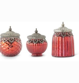Set of 3 Red Mercury Glass Lidded Jar