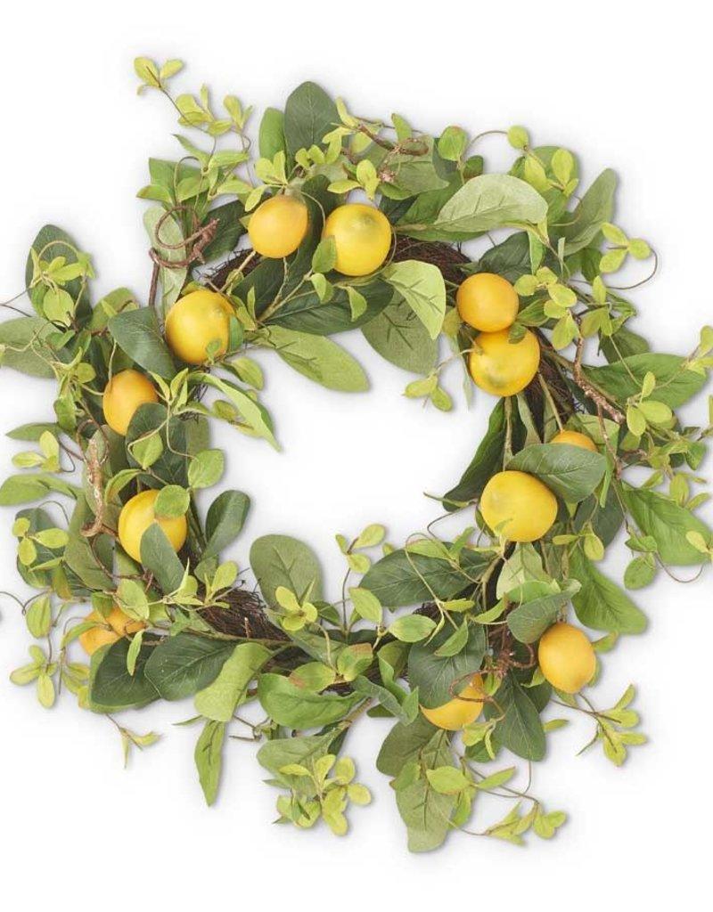 "22"" Lemon and Foliage Wreath w/Grapevine Base"