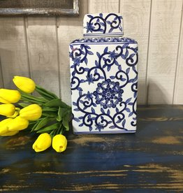 Blue and White Porcelain Canister w/Lids LG