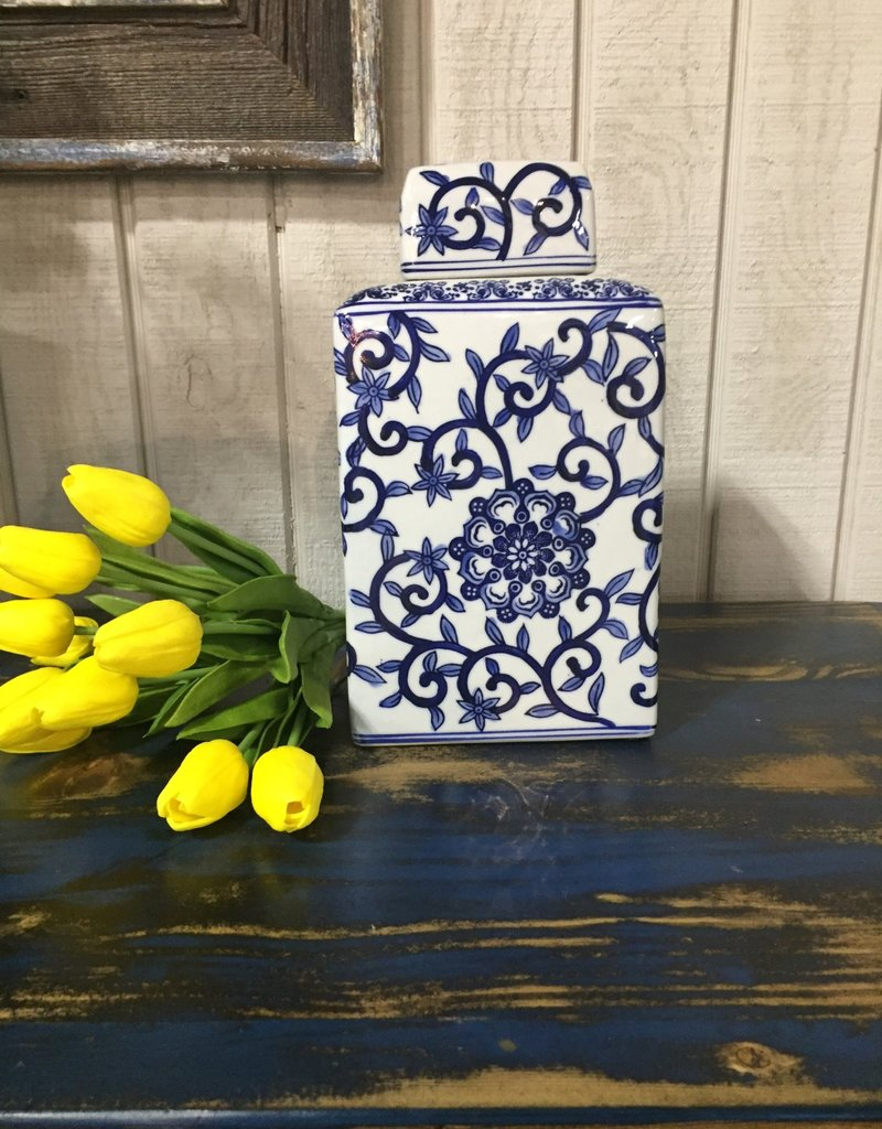 Blue and White Porcelain Canister w/Lid LG