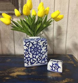 K & K Interiors Blue and White Porcelain Canister w/Lid SML
