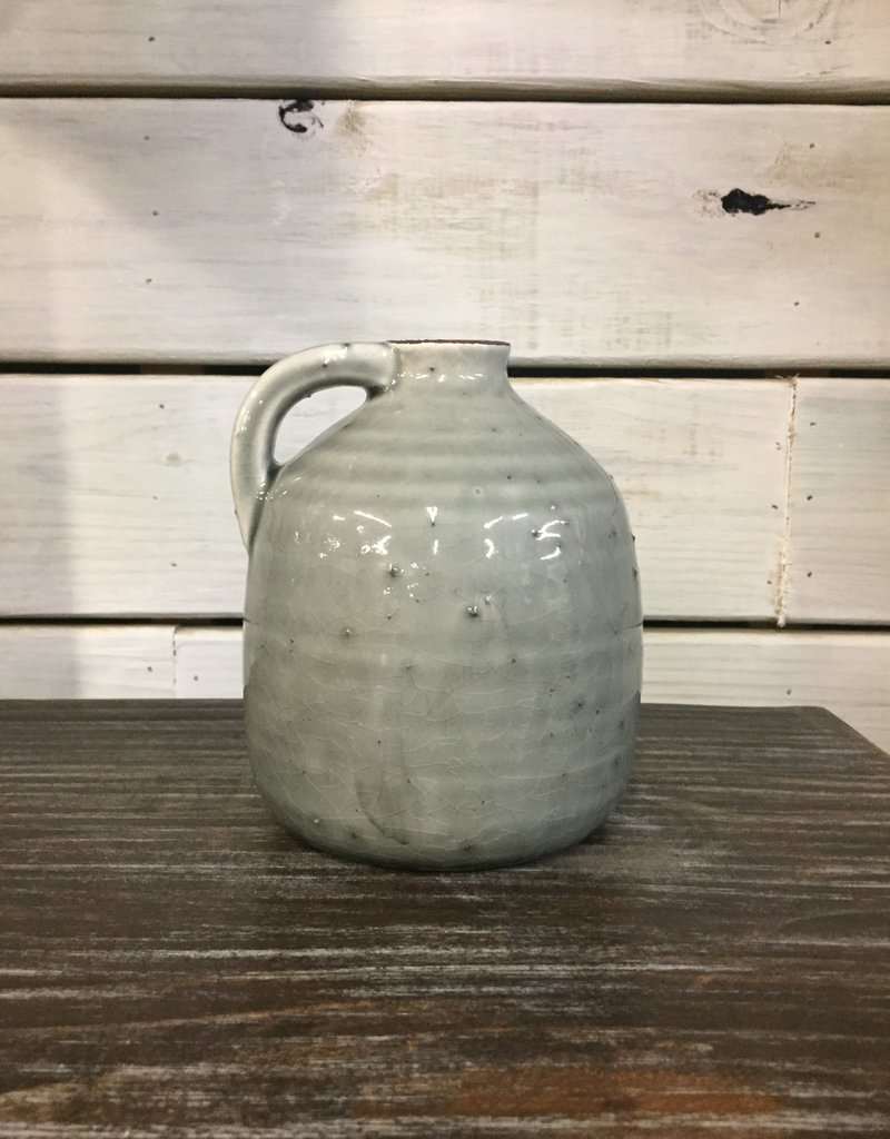"Ceramic Gray Jug With Handle 5.75"""