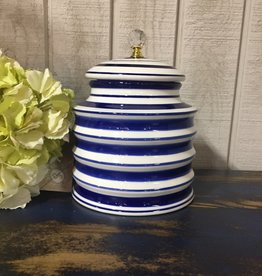 K & K Interiors Ceramic White and Blue Round Ribbed Container w/ Crystal Knob