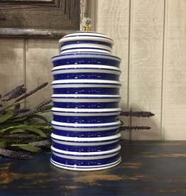Ceramic White and Blue Round Ribbed Container w/ Crystal Knob
