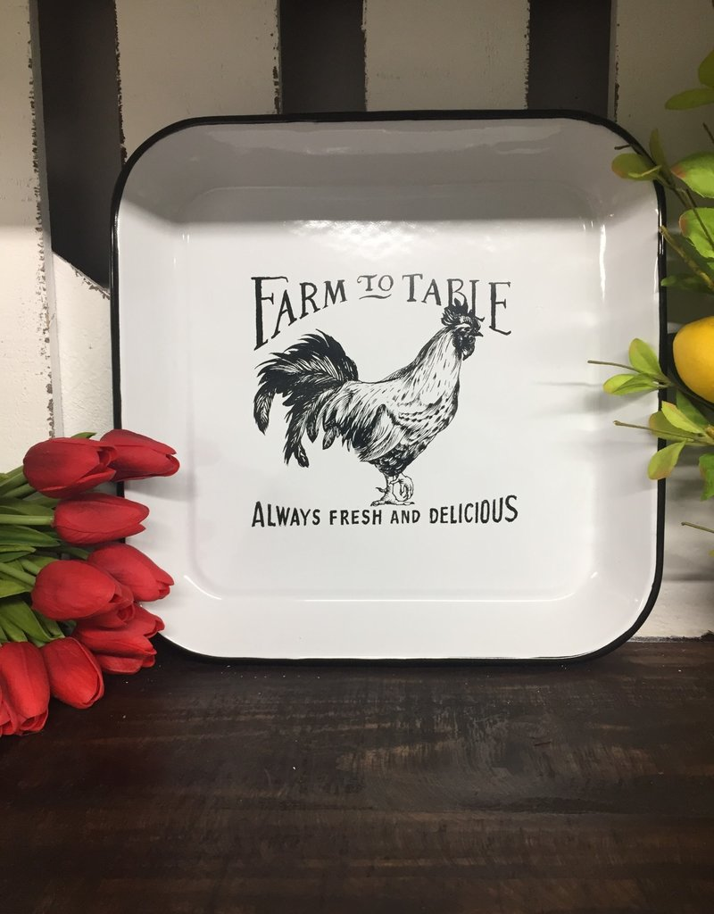 Enameled Square Rooster Plate Large