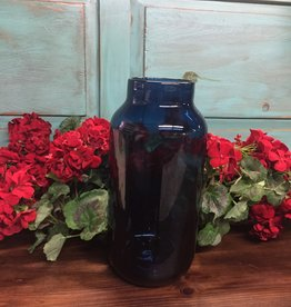 Persian Blue Glass Vase With Mini Dots Large