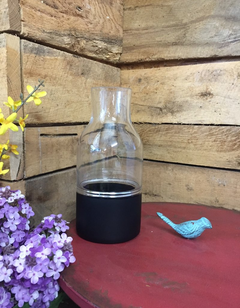 """10"""" Clear Glass Cylinder Vase w/ Black Bottom and Tapered Neck"""