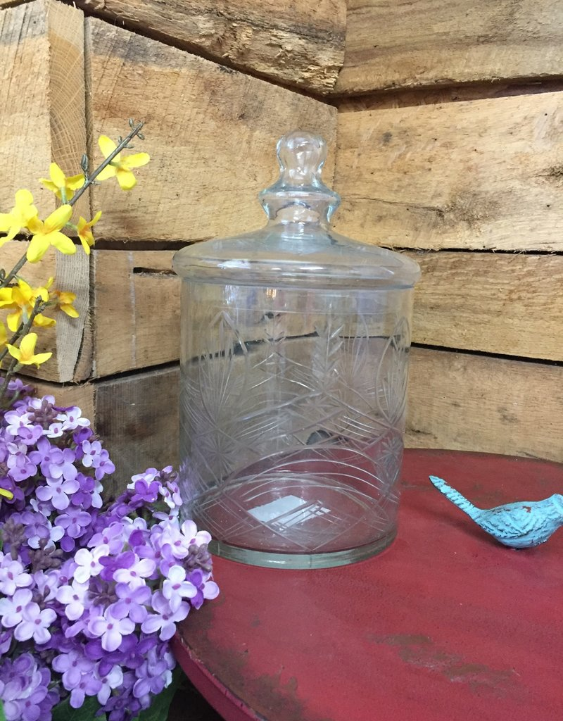 """10.5"""" Clear Glass Etched Lidded Container"""
