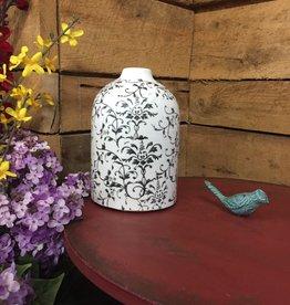 "7.75"" Cream Ceramic Vases with Gray Vine Pattern"