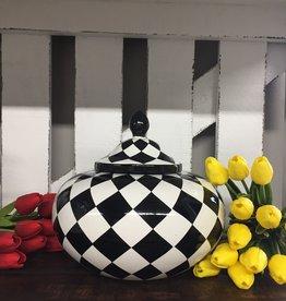 """8.5"""" Black & White Ceramic Harlequin Canister"""