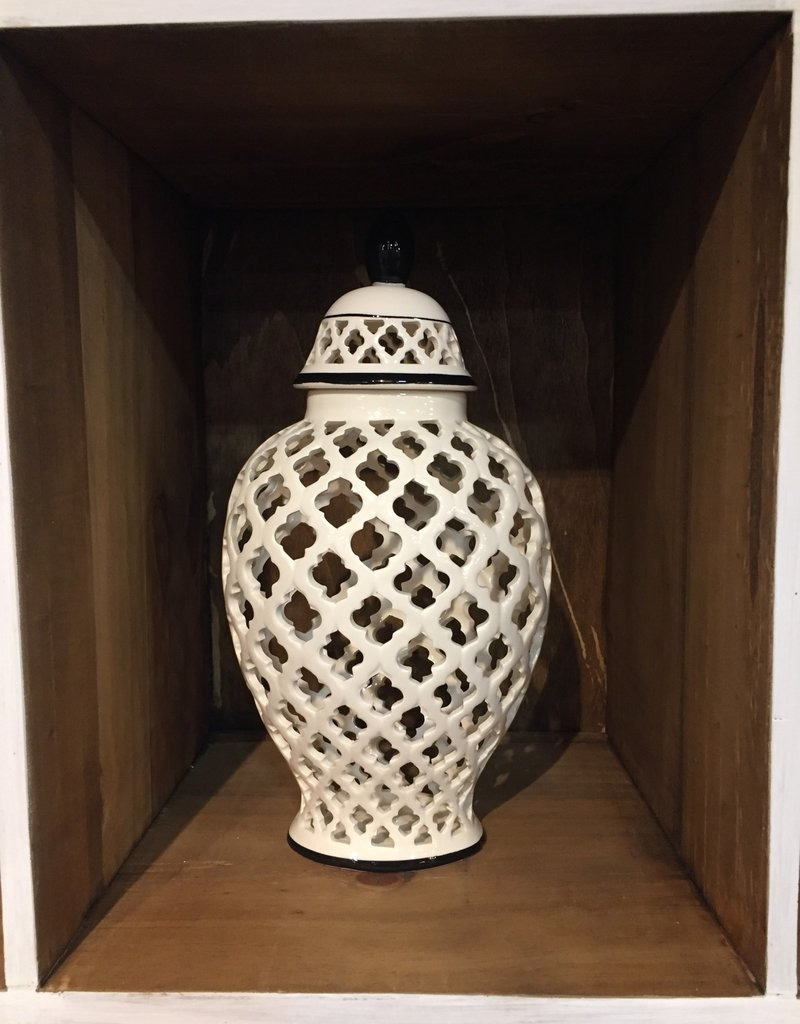"13.25"" White Lattice Cutout Lidded Ceramics With Black Trim"