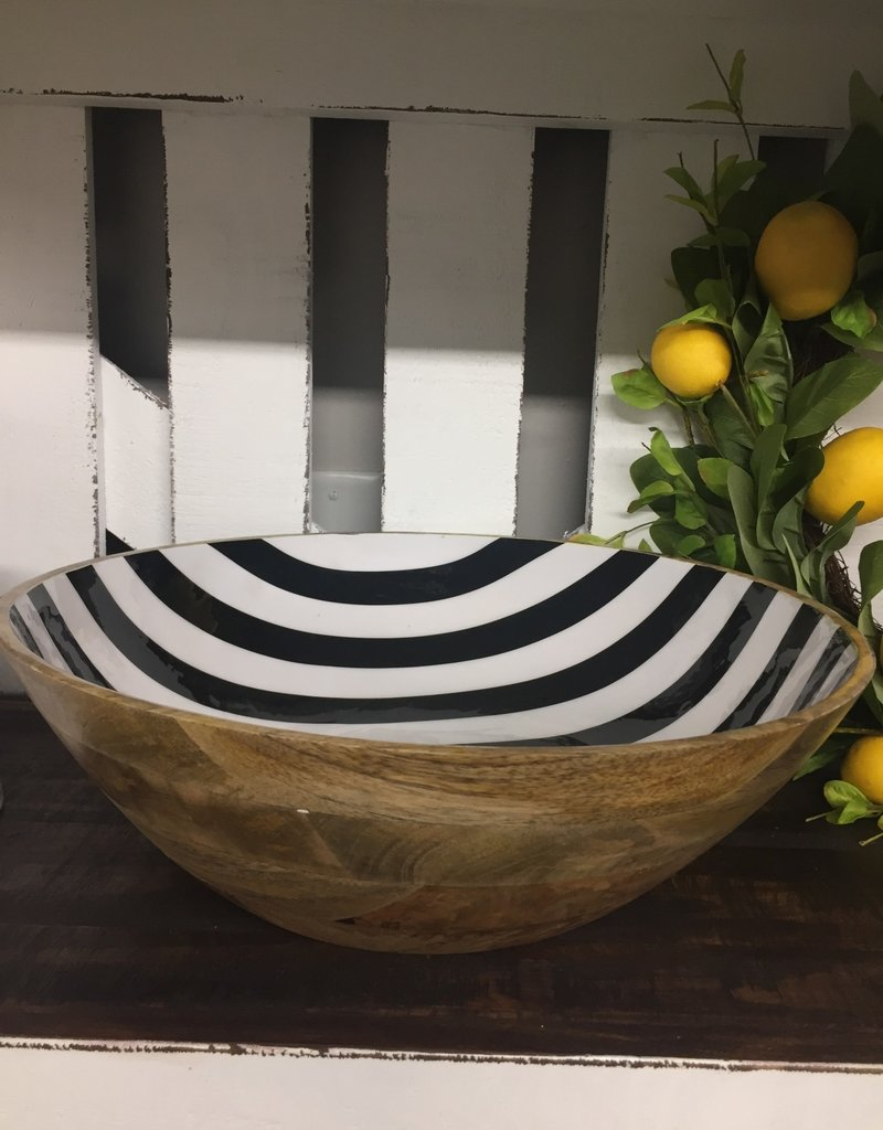 Wooden Bowl With Black and White Stripe Large