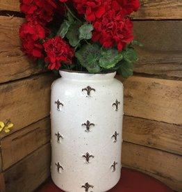 """K & K Interiors Ceramic Fleur De Lis Round Jug 14.75"""""""