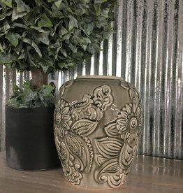 "K & K Interiors Gray Ceramic Art Deco Style Vase 8.75"""
