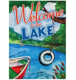 Welcome to the Lake Garden Suede Flag