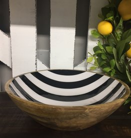Wooden Bowl With Black and White Stripe Small