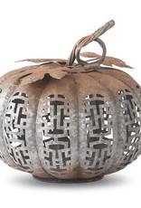 """11"""" Rusted Metal Cutout Pumpkin w/Embossed Leaves"""