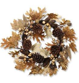 24 Inch Burlap/Maple & Oak Leaf Wreath w/Pine Cones