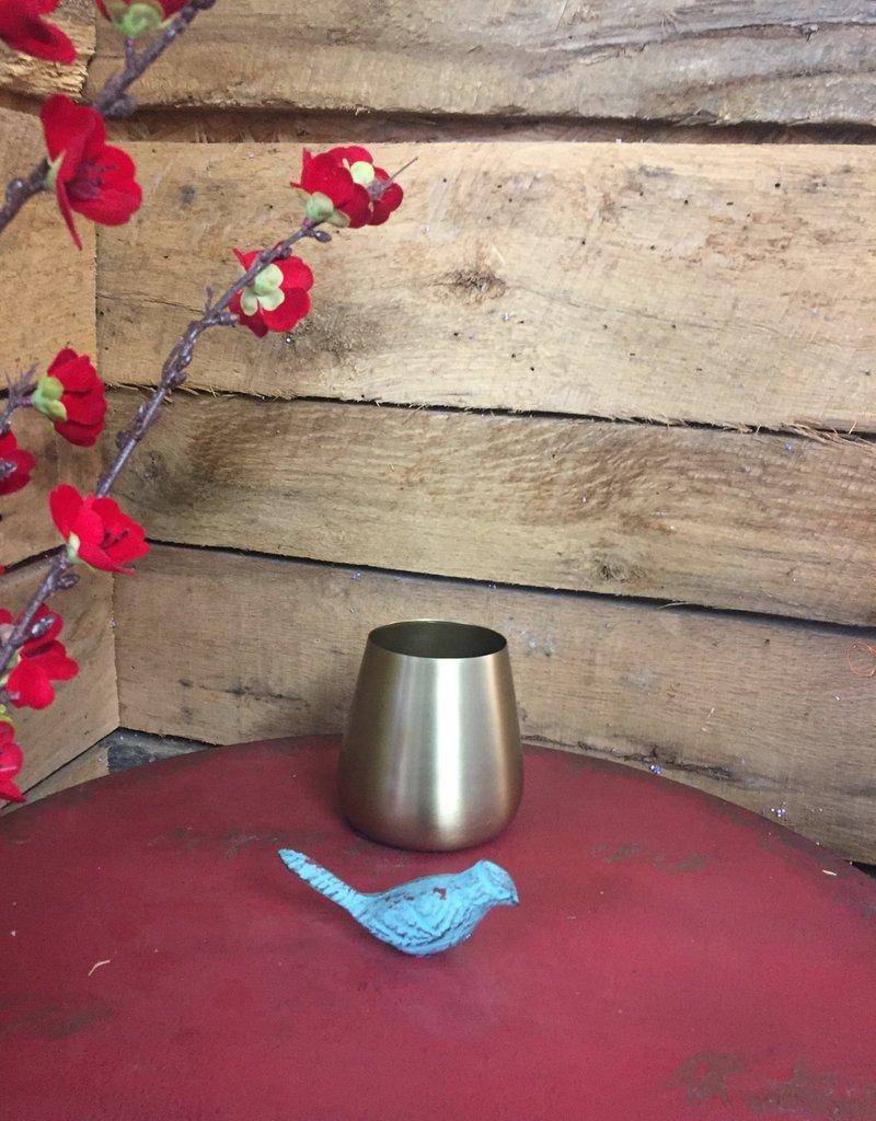 """3.75"""" Brushed Gold Vase"""
