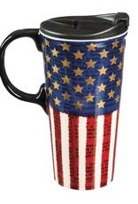 Ceramic Travel Cup w/ metallic accents, 17 OZ, Liberty