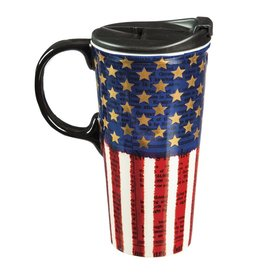 Ceramic Travel Cup w/ metallic accents, 17 OZ, Liberty