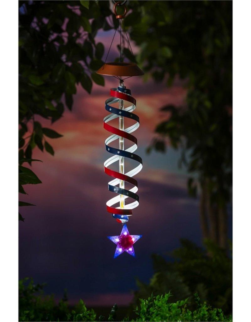 Light Chasing Firework Solar Mobile, Faceted Red, White, Blue Star