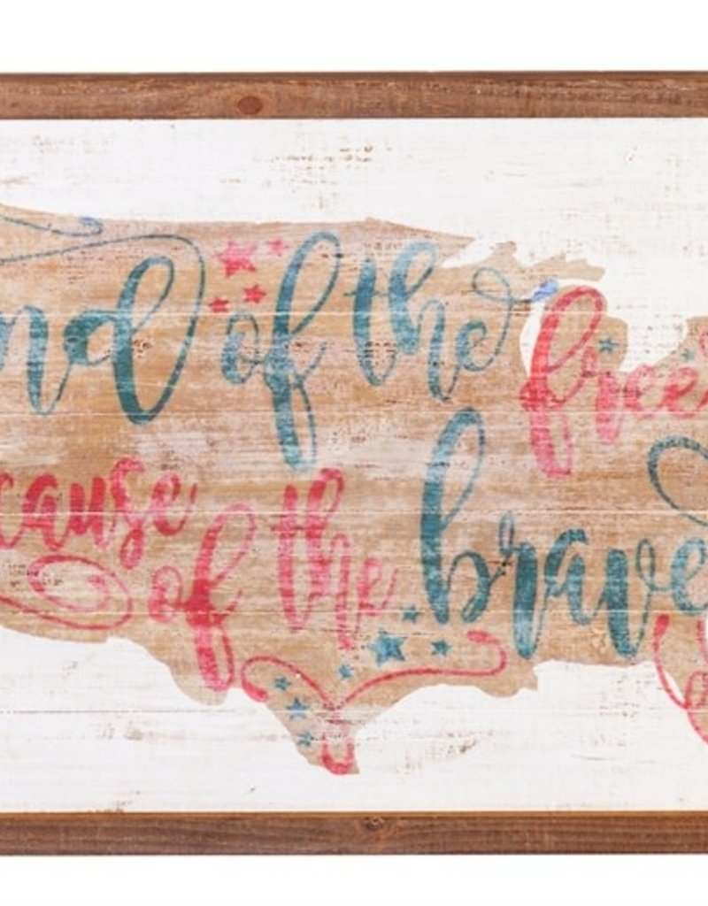 Land of the Free Because of the Brave American Flag Wall Décor