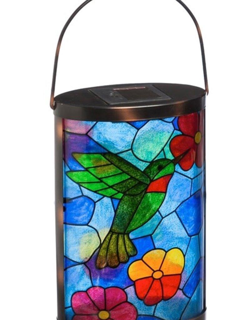 Solar Lantern, Tiffany Inspired Hummingbird