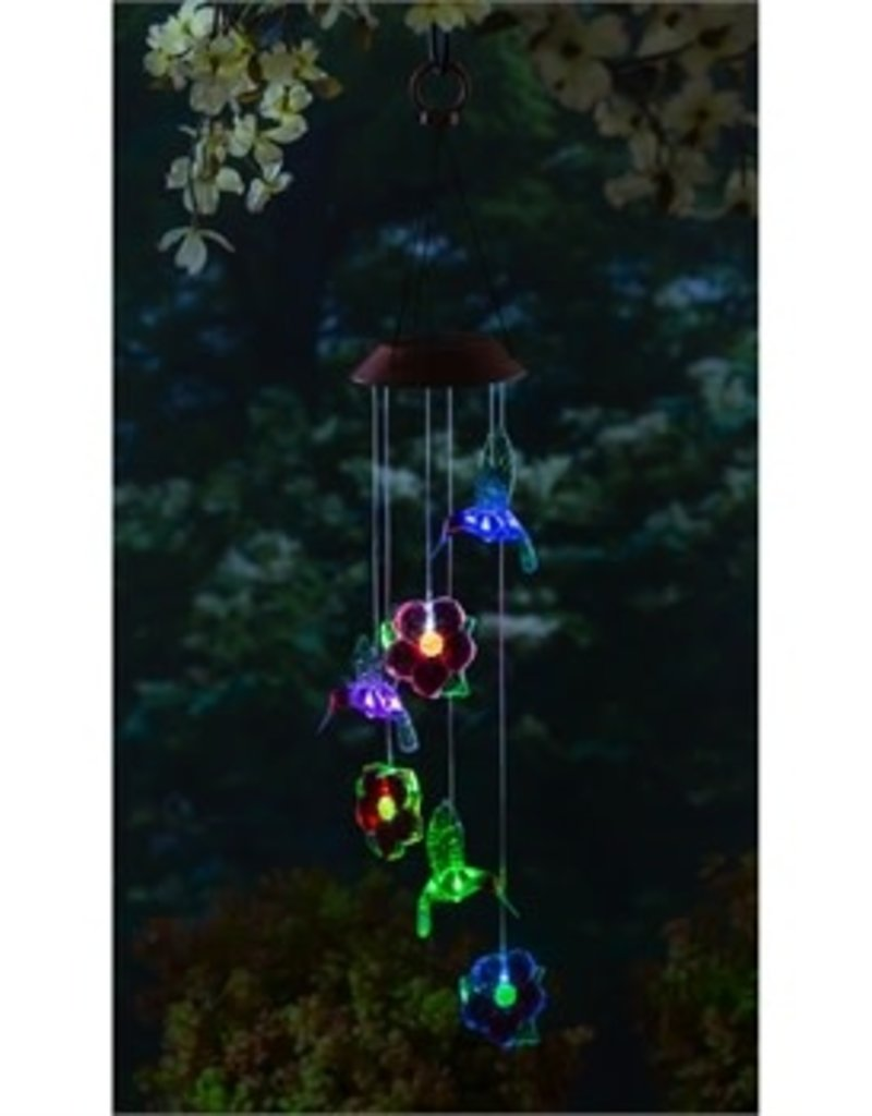 Color Changing Solar Mobile, Hummingbird and Red Flower Mixed Icon