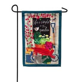 Life Is Simple In The Garden Linen Flag