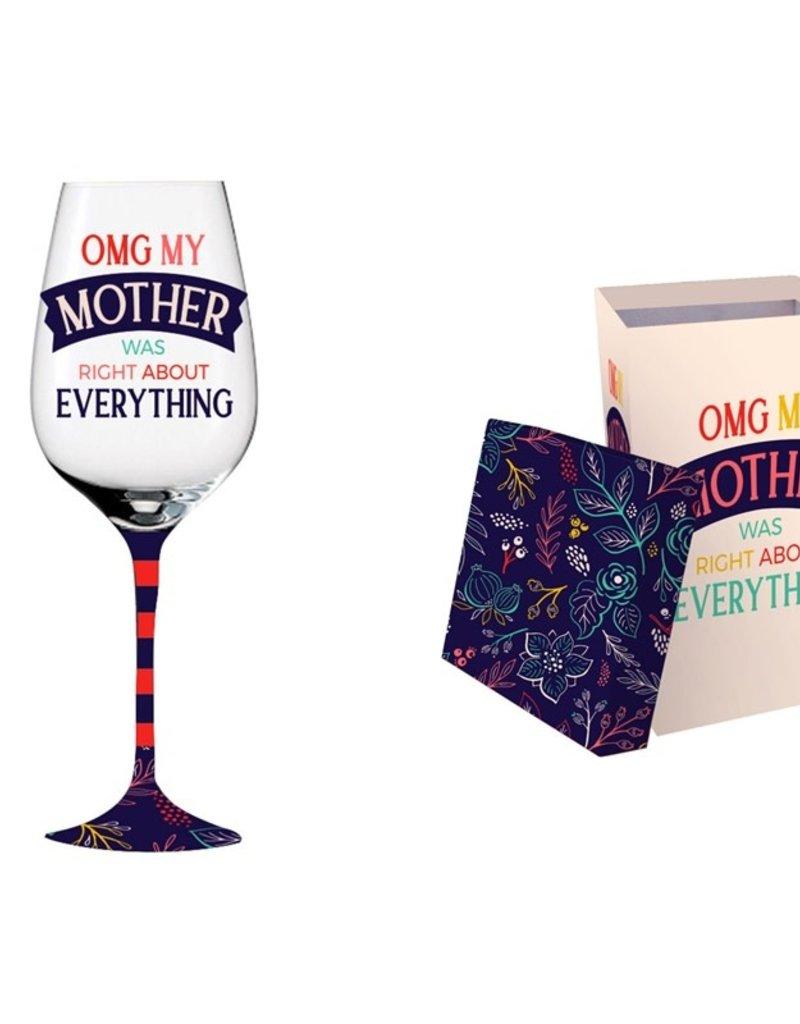 Wine Glass w/ box, 12 oz., OMG My Mother Was Right
