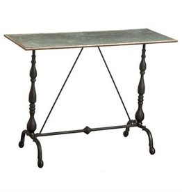 Metal Hall Table w/Galvanized Top & Cast Metal Legs
