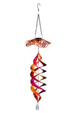 Solar Twirler With Metal Baffle Guard, Red Floral