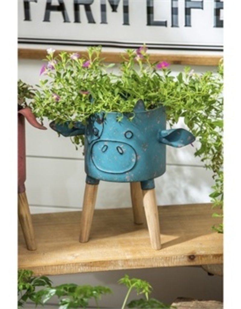 Metal Cow Planter with Wooden Stand
