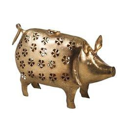 Metal Floral Die Cut Design Pig Lantern