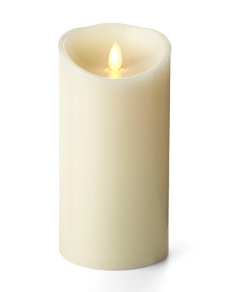 LED Wax Pillar candle with Moving Wick and Timer Function, Ivory
