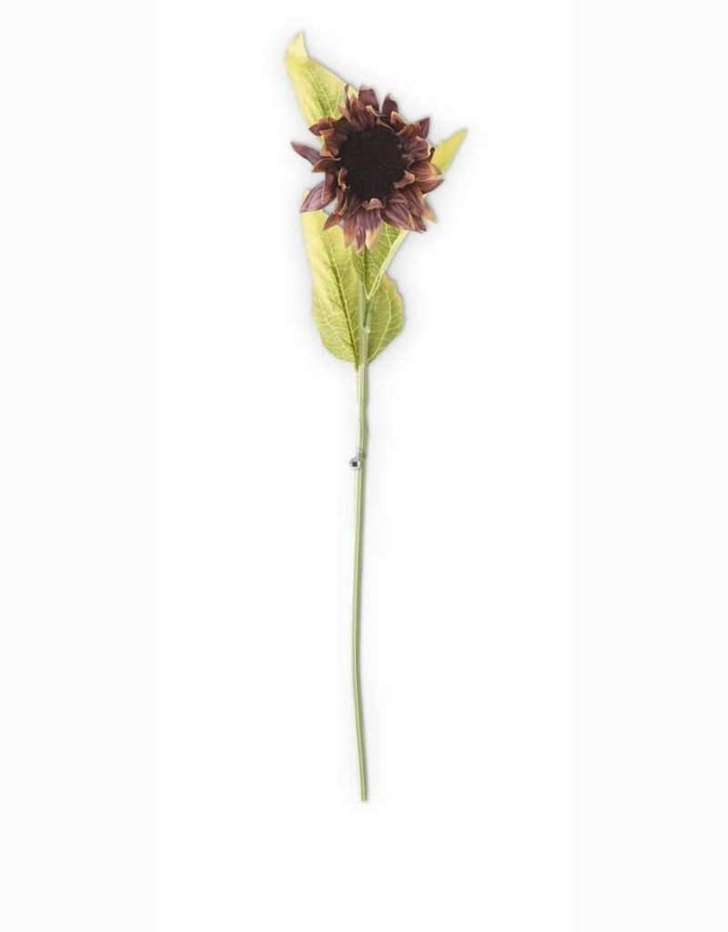 """21 Inch Burgundy Real Touch Sunflower Stem 21""""L"""