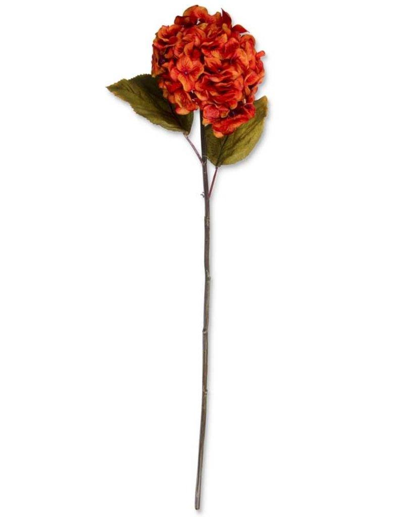 30 Inch Burnt Orange Hydrangea Two Leaf Stem