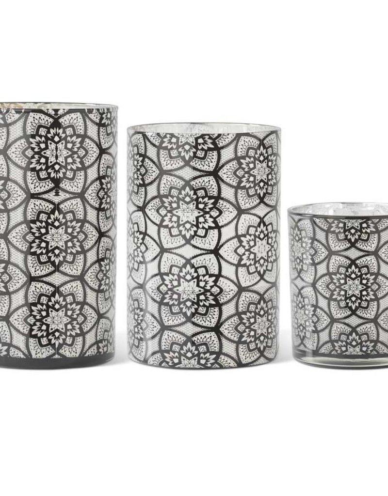 K & K Interiors Set of 3 Glass Black Filigree Patterned Candleholders