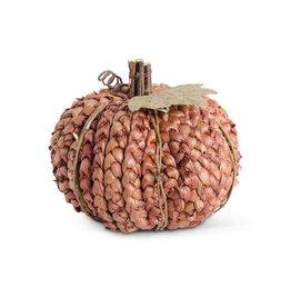 """5.25"""" Burnt Orange Braided Cornhusk Pumpkin w/Grapevine Accents"""