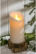 Ribbon Candy Scented LED Wax Pillar Candle w/Moving Wick and Timer