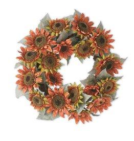 "24"" Rust Orange Sunflower Wreath"