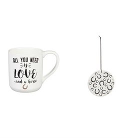 Ceramic Cup, 10 OZ, with Ornament/Coaster Gift Set, All you need is love...and a horse
